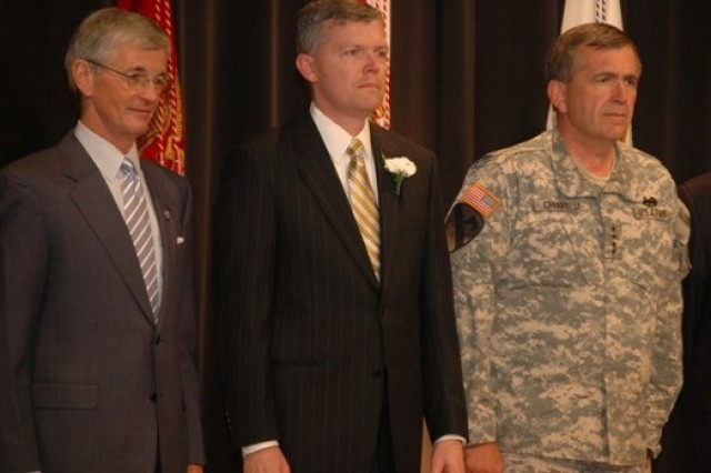 From left: Secretary of the Army John McHugh, IMCOM Executive Director John Nerger and Army Vice Chief of Staff Gen. Peter Chiarelli at a Pentagon awards ceremony Wednesday for outstanding civilians - including Nerger.