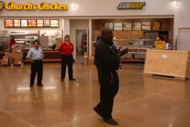 Several new stores and departments have been added to the Main Post Exchange, including Subway and Church's Chicken. The food court is also more open and features separate meeting areas.