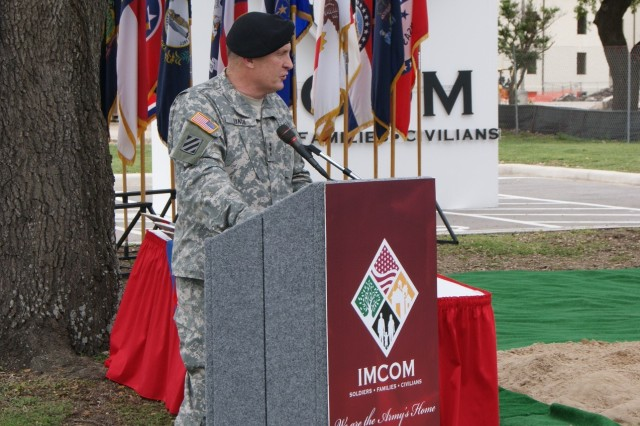 Lt. Gen. Rick Lynch, commander of Installation Management Command, addresses attendees of the IMCOM headquarters groundbreaking ceremony.