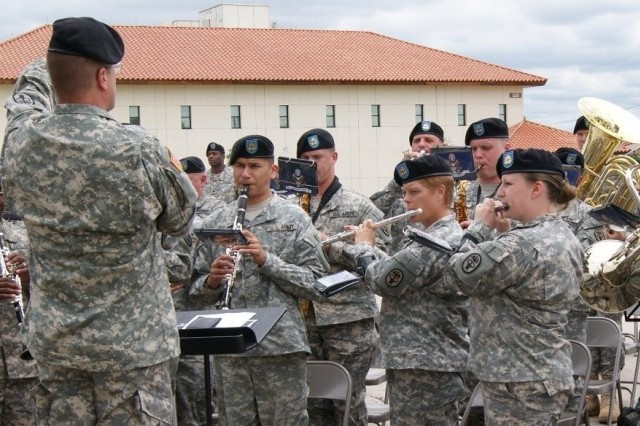 The U.S. Army Medical Command Band performs the Army Song at the closing of the Installation Management Command headquarters groundbreaking ceremony.