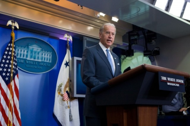 Vice President Joe Biden gives a statement on the death of two Al Qaeda leaders in Iraq, in the press briefing room of the White House, April 19, 2010. (Official White House Photo by David Lienemann)