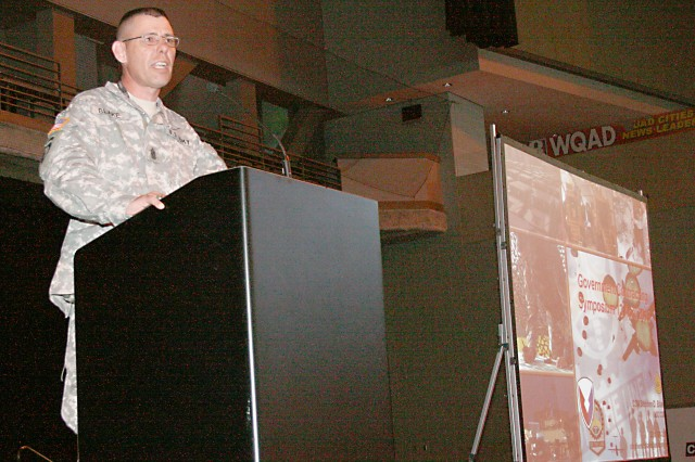 Army Sustainment Command's Command Sgt. Maj. Stephen Blake delivers a captivating speech, helping businessmen and women succeed by implementing the principles of professional Soldiering and Army leadership. Blake spoke at the 2010 Midwest Small Business Government Contracting Symposium held April 12-13 at the i Wireless Center in Moline, Ill.