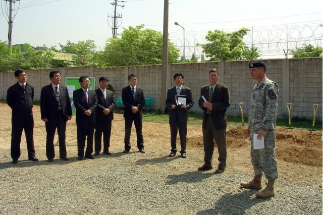 The Camp Carroll, Korea tree planting ceremony dedicated the first phase of the Wetland Restoration Project and Arbor Day 2009. The ceremony was sponsored by Mr. Chartier. Participating in the ceremony were COL Michael Saulnier, Garrison Commander and Waegwan/Chilgok County Mayor's Office representatives.