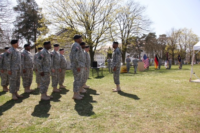 The 1177th Movement Control Team is honored during a Welcome Home Warrior-Citizen Ceremony April 18 at Daenner Kaserne in Kaiserslautern, Germany. While deployed, the movement control team was divided into smaller teams to help the sustainment of three operating bases across Iraq.