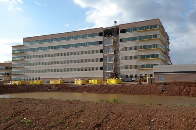 "Up-close photo of U.S. Army Materiel Command's future headquarters at Redstone Arsenal, Ala., Apr. 8. U.S. Army Photo by: Cherish Washington, AMC Public Affairs."""