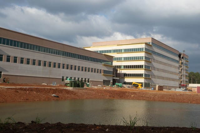 """Side view of the U.S. Army Materiel Command, right, and the U.S. Army Security Assistance Command's, left, construction site at Redstone Arsenal, Ala., Apr. 8. U.S. Army Photo by: Cherish Washington, AMC Public Affairs."""""""