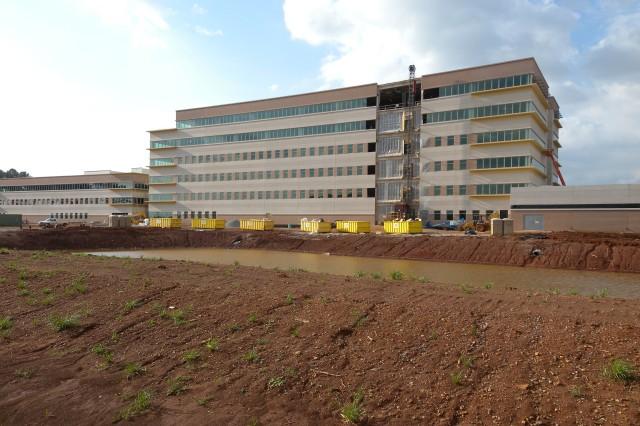 "AMC/USASAC's new building construction as of Apr. 8. U.S. Army Photo by: Cherish Washington, AMC Public Affairs."""