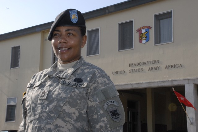 Sgt. 1st Class Dedraf Blash was cited for her accomplishments during U.S. Army Africa's transition from its Southern European Task Force missions to being an Army Service Component Command. Blash arrived as Caserma Ederle in April 2009. Her first projects included medical planning for MEDFLAG 09, a medical civil action program in Swaziland, plus Judicious Response, a command certification exercise.