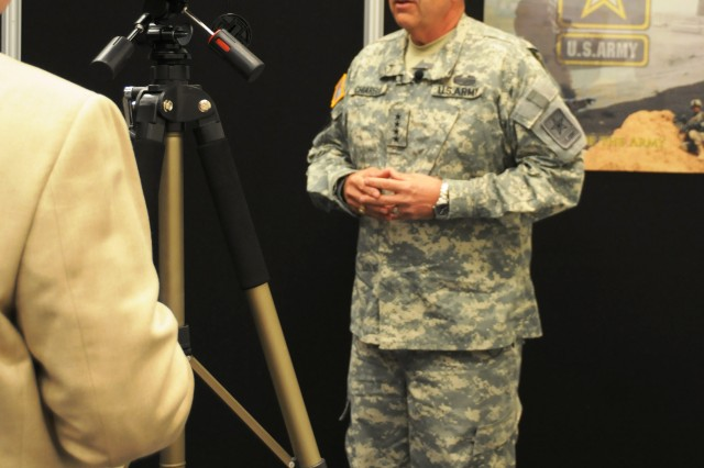 Army Vice Chief of Staff Gen. Peter Chiarelli outlines the UAS Roadmap during an interview April 15 at the AAAA convention in Fort Worth, Texas.