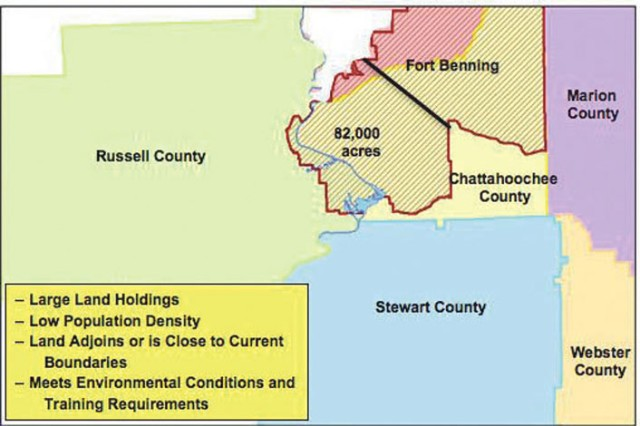 The diagram depicts Fort Benning's current boundary outlined in red. An additional 82,000 acres would equal roughly 40 percent of the reservation's current 183,000 acres.