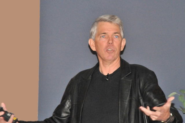 WallBuilders founder David Barton describes America's founding fathers as men of faith and mortality during Fort Drum's National Prayer Luncheon observance at the Commons April 14.