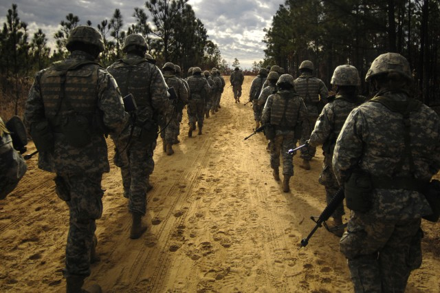In this file photo, Soldiers march during Basic Combat Training. The new Warrior Tasks and Battle Drills adjust to meet the need of Soldiers and account for current skills needed.