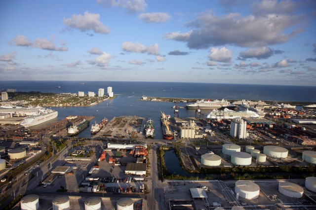 Port Everglades in Fort Lauderdale is one of the largest ports in Florida.  Maintenance of the port by Jacksonville District is a challenge as it is so close to the ocean as seen in the photograph.