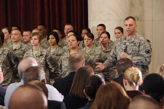 Lt. Gen. Jack C. Stultz, Chief U.S. Army Reserve addresses 60 soldiers at the U.S. Army Reserve National Capitol Reenlistment ceremony today, April 23, 2010 on Capitol Hill in Washington, DC.