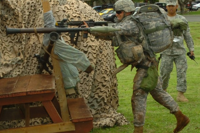 Engaging a hostile enemy with a bayonet