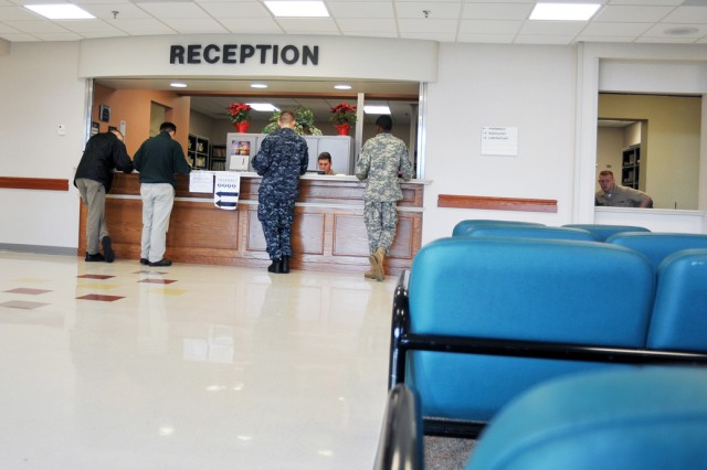 """PRESIDIO OF MONTEREY, Calif. - The clinic's new reception area. """"It allows us to present a brand new face to the Presidio community and Naval Postgraduate School,"""" said Capt. Robert Weber, CALMED executive officer."""