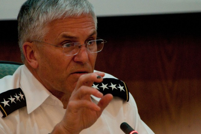 Chief of Staff of the Army Gen. George W. Casey Jr. addresses students at the Royal Jordanian National Defense College in Amman, Jordan,  April 25, 2010. Casey spoke about topics that ranged from security in the Middle East to transforming the U.S. Army.