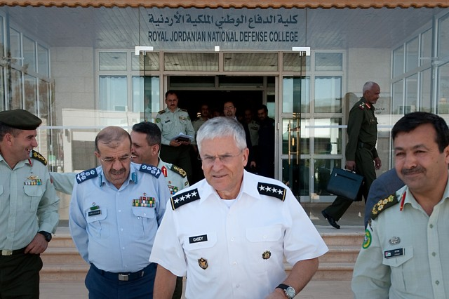 Chief of Staff of the Army Gen. George W. Casey Jr. and Commandant of the Royal Jordanian National Defense College Brig. Gen. Ahmad Al Aitan, depart the university after meeting students in Amman, Jordan, April 25, 2010.