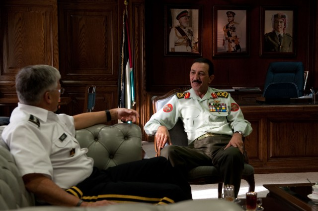 Jordan Chairman of the Joint Chiefs of Staff Lt. Gen. Mashal Al-Zaben, has a meeting with the Chief of Staff of the Army Gen. George W. Casey Jr. in Amman, Jordan, April 25, 2010.