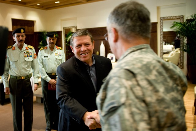 King AbdullahII, King of the Kingdom of Jordan, greets the Chief of Staff of the Army Gen. George W. Casey Jr. at his office in Amman, Jordan, April 26, 2010. The King and Casey spoke about the military to military relationships between Jordan and the U.S.