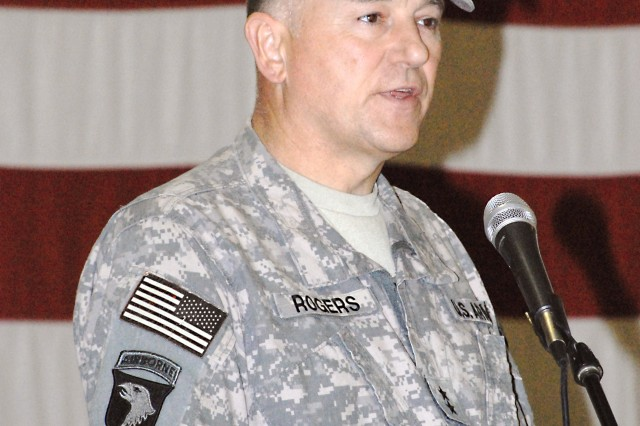 Maj. Gen. James E. Rogers, commanding general of the 1st Sustainment Command (Theater), Kuwait, speaks at the 402nd AFSB's change of command ceremony at Joint Base Balad, Iraq, April 21 where Col. Brian R. Haebig relinquished command to Col. Lawrence W. Fuller. Rogers served as the ceremony's presiding officer.