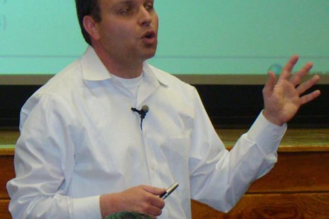 Hebrew Department Chairman Avner Even-Zohar speaks at the event.