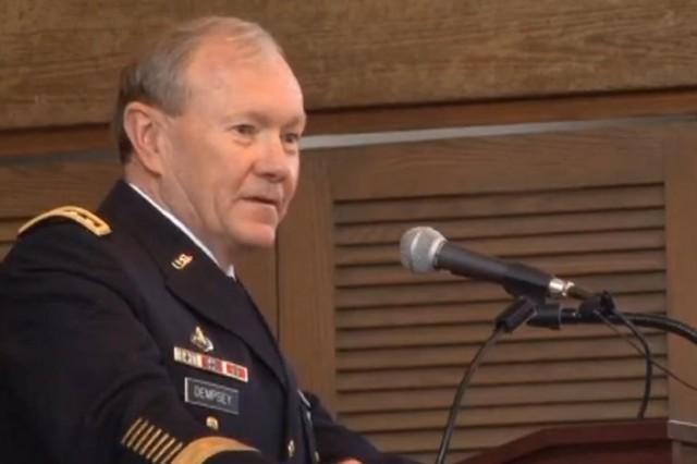 Gen. Martin E. Dempsey, TRADOC commander, addressed the attendees of the Marshall Army ROTC Award Seminar in Lexington, Va. on Apr. 16.