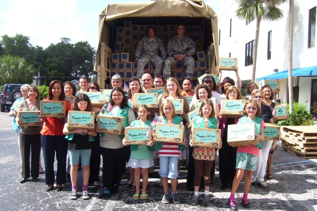 Girl Scouts in Florida sent donated Girl Scout cookies to Florida National Guard units deployed to Iraq.