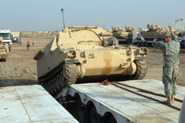 MOVING 3 MILLION PIECES OF EQUIPMENT  As the Army responsibly draws down from Iraq, Logisticians need to move more than 3 million pieces of equipment, such as this M992 field artillery ammunition supply vehicle.