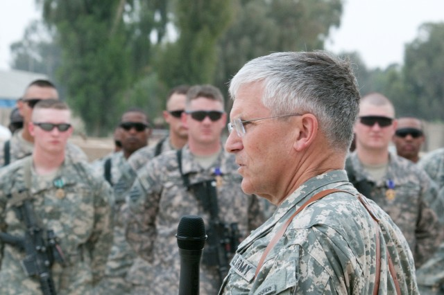 """Chief of Staff of the Army Gen. George W. Casey Jr. addresses Soldiers at Forward Operating Base Marez in Mosul, Iraq, April 27, 2010. Casey told the assembled troops that, """"you are here at a critical time and Iraq is moving in the right"""
