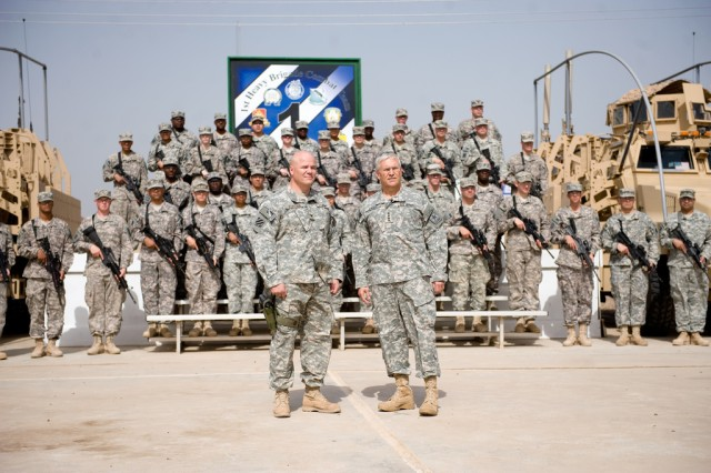"""Chief of Staff of the Army Gen. George W. Casey Jr. records a video message with Col. Roger Cloutier and Soldiers of the 1st Raider Brigade, 3rd Infantry Division, at Forward Operating Base Falcon, Iraq, April 28, 2010. Casey told the Soldiers """"You are making a huge difference in a country that is critical to our long term success in the Middle East."""""""