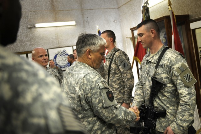 Chief of Staff of the Army Gen. George W. Casey Jr. meets with Soldiers that are with the 1st Raider Brigade, 3rd Infantry Division, at Forward Operating Base Falcon, Iraq, April 28, 2010.