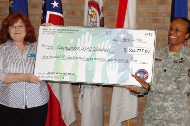 Sylvia Bowron, Schinnen's Volunteer Coordinator, presents a $555,777 check representing the value of local volunteer service hours to Lt. Col. Fern O. Sumpter, USAG Schinnen Commander.
