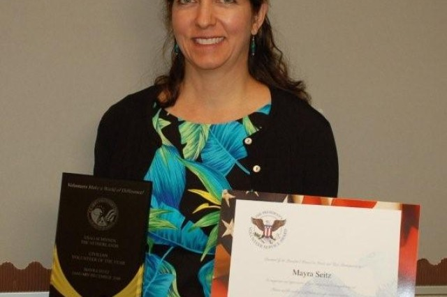 Mayra Seitz was recognized as Civilian Volunteer of the Year for her work as a volunteer chapel pianist and choir director. She also directed a monthly youth mass, planned a retreat for confirmation students and led a local youth delegation at the European Catholic Youth Conference.