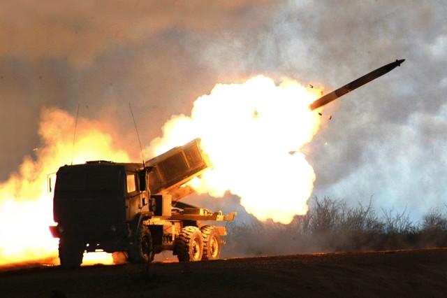 """GMLRS rocket firing from HIMARS"""""""