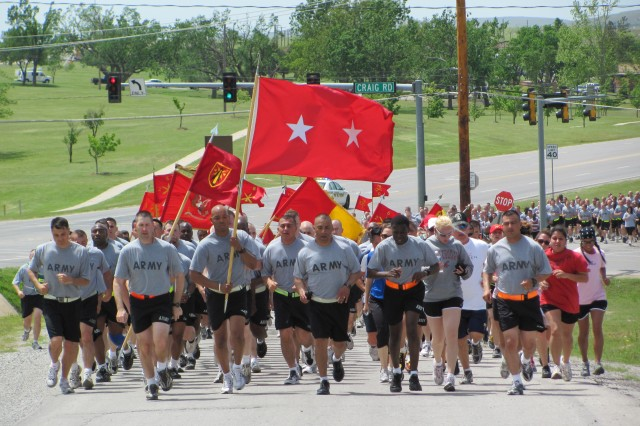 While the walkers followed a 3.6 mile path,  the military units took a 4.5 mile run. Units included a mix of tenant units, such as the 75th Fires Brigade, and training units, like the 434th Field Artillery Brigade, Fort Sill's host unit for basic training and advanced individual training.