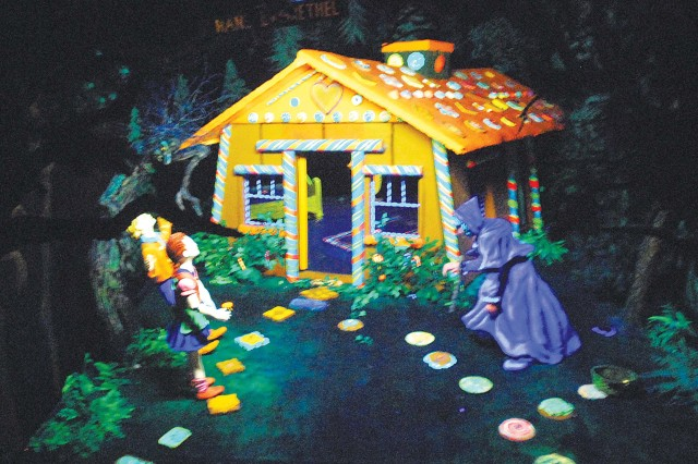 The gingerbread house is one of several sculptures tucked away in Fairyland Caverns.
