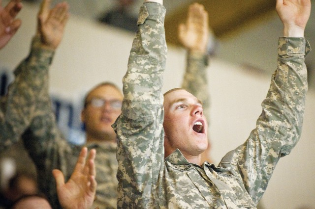 Sand Hill Soldiers numbered among 4,000 fans Saturday during a Columbus Lions home game at the Columbus Civic Center.