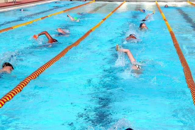SCHOFIELD BARRACKS, Hawaii — The Schofield Barracks Sharks Swim Team participates in drills and lap training with resistance flippers to help develop endurance and stamina. The team is currently hosting tryouts at Richardson Pool, here, weekdays at 4 p.m.