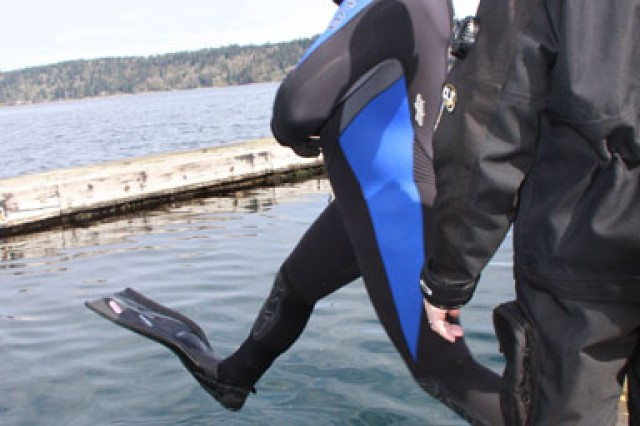 Warriors participate in open water dives in the Puget Sound March 15.