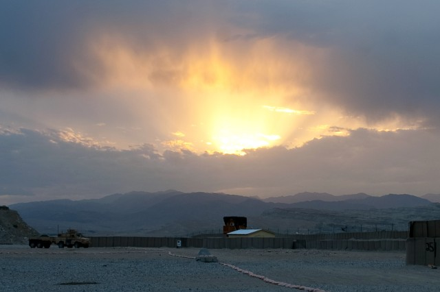 The view from Combat Out Post Ziohaq, Afghanistan, as the sun sets on April 29, 2010.