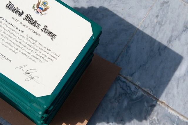 A stack of Army certificates prior to a reenlistment ceremony at Forward Operating Base Fenty, Afghanistan, Apr. 29, 2010.