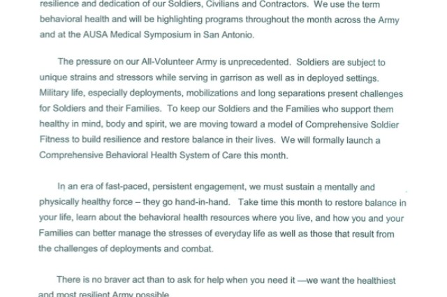 Surgeon General acknowledges 2010 National Mental Health Month