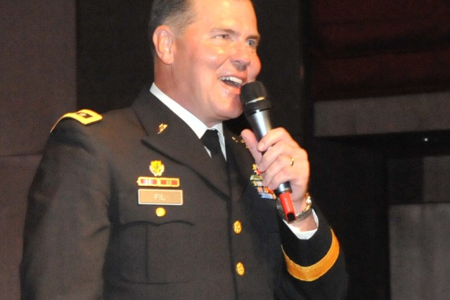 Lt. Gen. Joseph F. Fil, Jr., Eighth U.S. Army Commanding General, speaks at the first Korean Cultural Night in Seoul May 1.