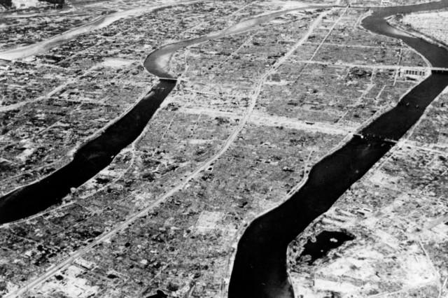 Hiroshima after the atomic bomb blast.