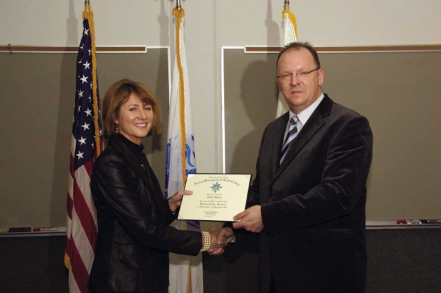 Frans Meisen, USAG Schinnen plans specialist, Plans, Analysis & Integration Office, a 38-year DMOD employee was the first host nation employee to ever graduate from the CES Intermediate Course held in Fort Belvoir, Va.