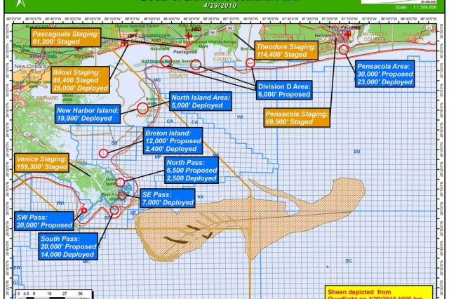Graphic showing the proposed and currently deployed shoreline boom locations.