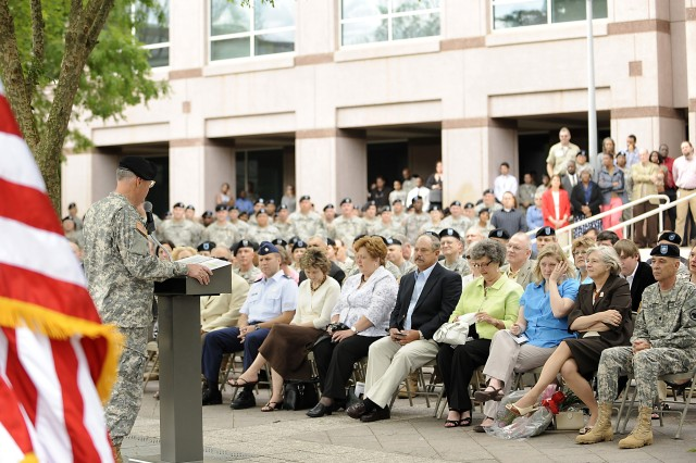 Maj. Gen. James R. Sholar, deputy commanding general, U.S. Army Reserve Command, addresses the audience during his retirement ceremony at USARC headquarters on Fort McPherson Monday. Sholar retired after more than 38 years of continuous service as a commissioned officer in the active duty Army and Army Reserve.