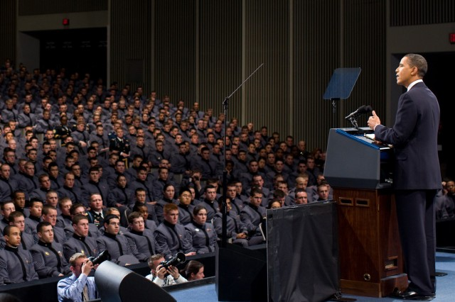 In this file photo, President Barack Obama delivers remarks on Afghanistan before cadets at West Point. The White House announced April 21 that President Obama will address the U.S. Military Academy Class of 2010 at the annual commencement ceremony May 22 at Michie Stadium. (Official White House photo by Pete Souza. Photo subject to terms of use found at http://www.flickr.com/photos/whitehouse/4290936231/)