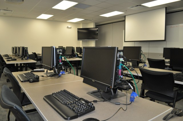 One of three new computer training classrooms at CAAA's new Logistics Modernization Program Facility